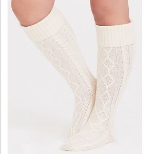 Torrid IVORY CABLE KNIT OVER THE KNEE SOCKS